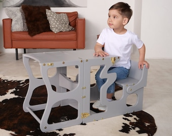 Gray Montessori wooden step stool with a back for kids Transformable kitchen helper Learning and activity chair Kids table