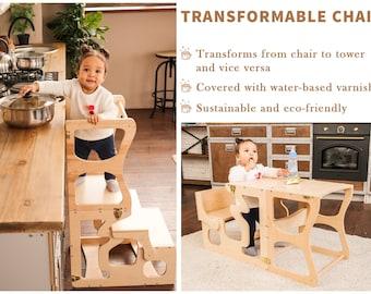 Montessori tower Step stool Activity Kitchen helper Kitchen tower Bathroom Step Stool Montessori furniture Kitchen helper tower Wooden stool