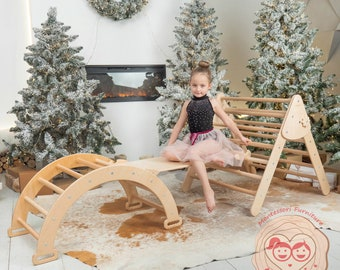 Set of three items Montessori furniture Natural wood Climbing Arch Toddler Ramp and Montessori Triangle Baby toy Climbing gym kletterdreieck