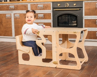 Step stool with back Montessori tower Children table Learning chair Activity tower Kitchen helper tower Learning stool Wooden step stool