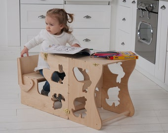 Kids learning chair Kitchen step stool Children table Learning chair Childrens furniture Little helper tower Activity Step stool