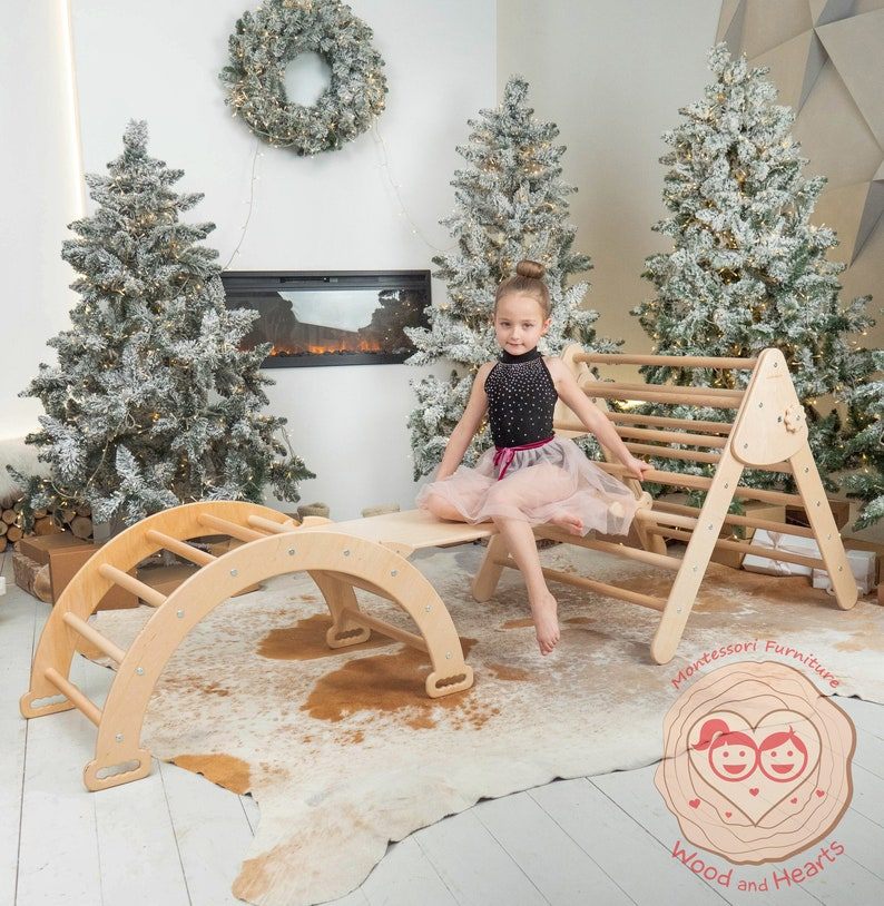 Set of three items Montessori furniture Natural wood Climbing image 1