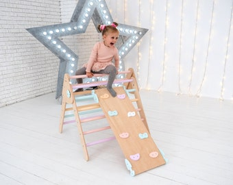 Foldable triangle with rock climbing ramp Montessori kids furniture Toddler indoor playground Wooden sustainable toy Activity gym