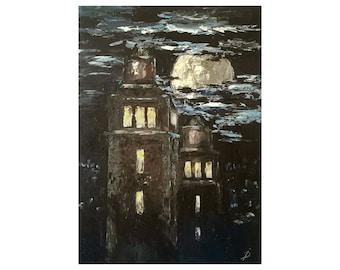 Black towers impasto oil palette knife original black painting night cityscape artwork.
