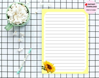 Sunflower Themed Instant Digital Downloadable Stationary Notepad Paper