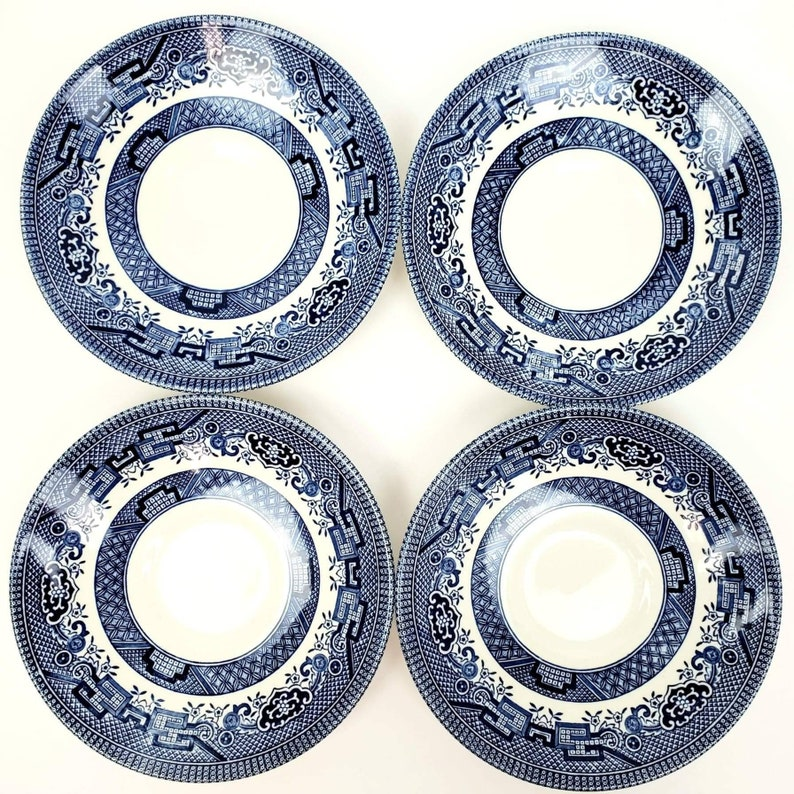 Churchill England Blue Willow Teacups and Saucers