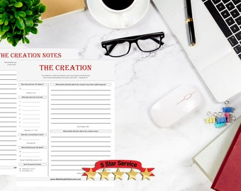 The Creation | Bible Study Worksheets | Bible Study Printable | Bible Study Notes | Bible Study Kids | Bible Study Journal Digital