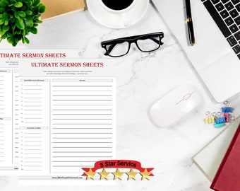 Ultimate Sermon Sheet - Bible Study Worksheets - Non Denominational