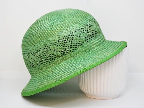green straw hat, vintage hat, retro hat, summer h… - image 6