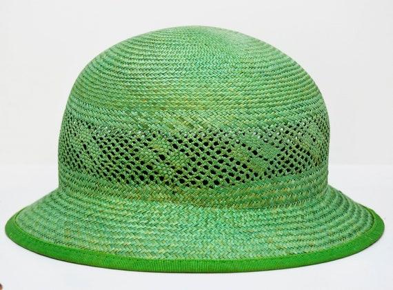 green straw hat, vintage hat, retro hat, summer h… - image 1