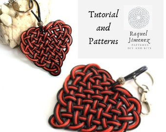 Macrame heart patterns and instructions, diy heart braided keychain patterns, diy macrame keychains, how to make heart keychains.