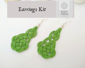 Diy kit for Celtic leather and silver earrings, materials to make macramé earrings, diy Irish Celtic knot earrings, jewelry kit.