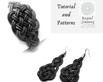Tutorial and patterns for making knot earrings and bracelet, jewelry knot making tutorial, Celtic jewelry making instructions.