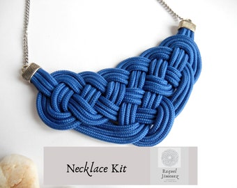 Kit to make a Celtic knot rope necklace, materials to make a macramé necklace, diy tutorial macramé celtic necklace, kit diy for adult