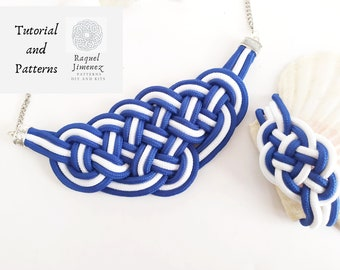 Set of 2 patterns and tutorial for nautical knot necklace and bracelet set, patterns for knot jewellery set, patterns macramé bracelet set