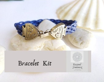 Tutorial and kit with materials to make braided bracelet sailor style, diy tutorial surfer bracelet, kit for bracelet beach braided bracelet