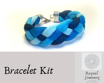 Kit braided bracelet, blue t-shirt yarn bracelet kit, how to make a trapillo bracelet, jewellery kit, kit for handicrafts, craft kit diy,