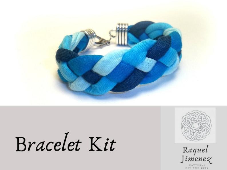 Kit braided bracelet blue t-shirt yarn bracelet kit how to image 0