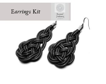 Leather and silver macrame earrings kit and tutorial, celtic knot earrings materials, diy knot earrings, jewelry kit.