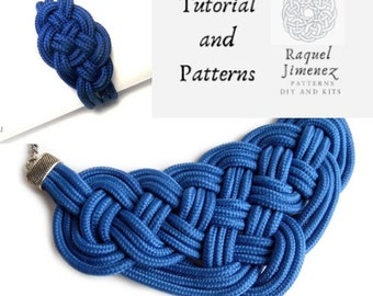 Macrame patterns and tutorial for necklace and bracelet with nautical knot, patterns and tutorial for necklace and bracelet set sailor knot.