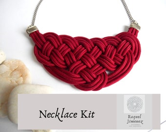 Kit to make a sailor knot necklace, materials to make a macramé rope necklace, diy tutorial for knot necklace, how to make a rope necklace