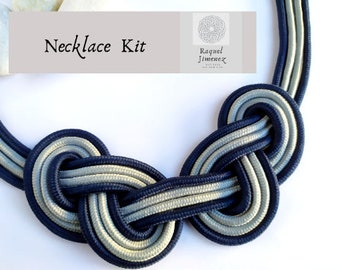 Kit craft diy to make rope necklace, kit supllies macramé necklace, how to make a knotted necklace, kit diy for adult to make knot necklace