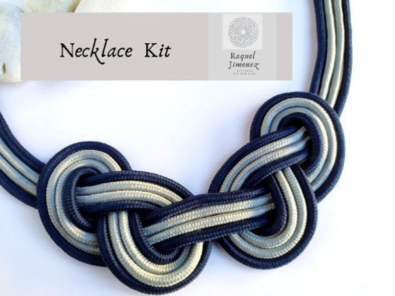 Kit craft diy to make rope necklace kit supllies macramé image 0