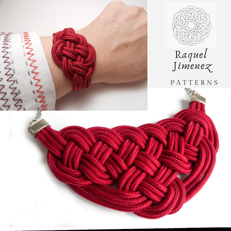 Patterns for nautical knot necklace and bracelet set patterns image 0