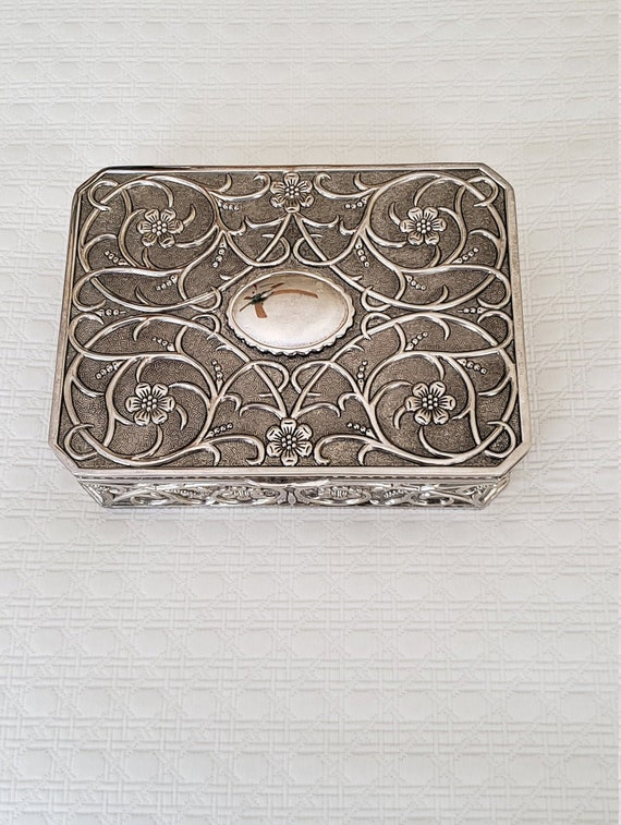 Large Silver Godinger Jewelry Box with Burgundy Ve