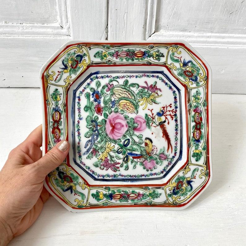 Macau hand painted plate bird of paradise decor Antique Chinese porcelain square dish oriental design plate