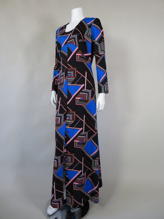 1970s Psychedelic Print Maxi Dress