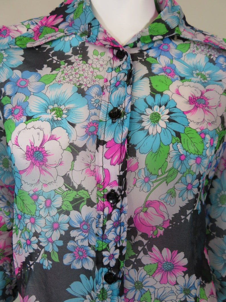 Floral Semi Sheer Button-Up Blouse c.1970s