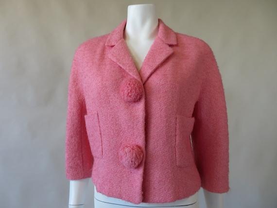 Arthur Jay Pink Wool Cropped Jacket w/ Pom Poms c.