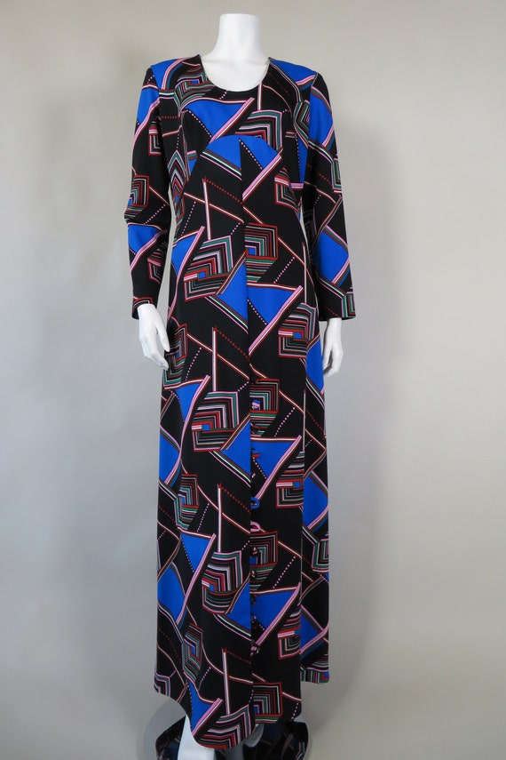 1970s Psychedelic Print Maxi Dress - image 2