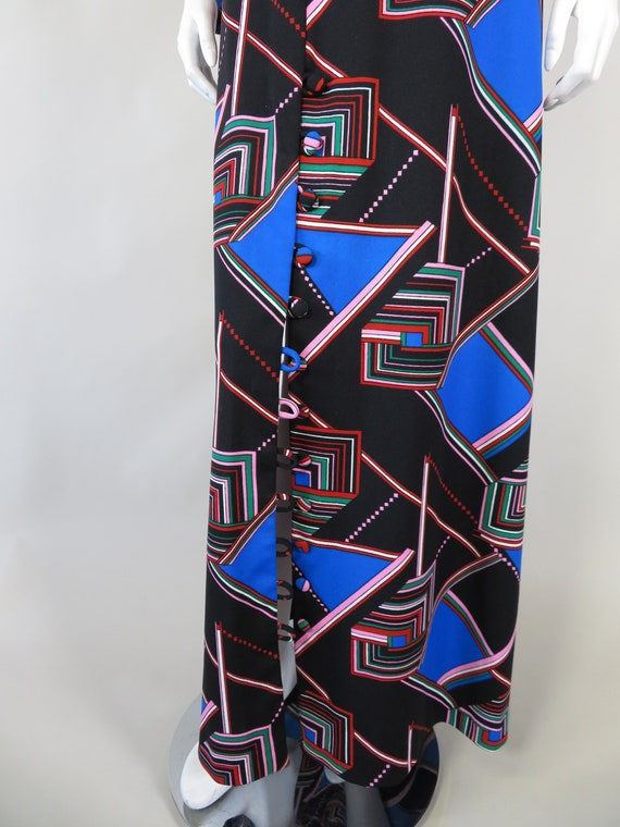 1970s Psychedelic Print Maxi Dress - image 7