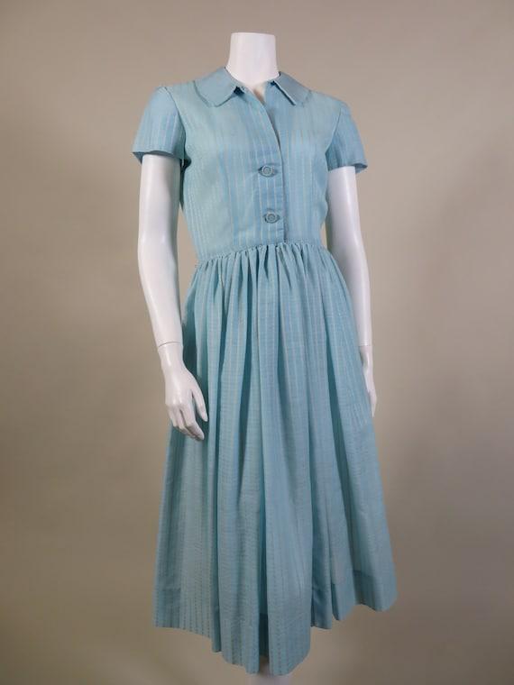 JERRY GILDEN 1950s White & Blue Shirt Dress