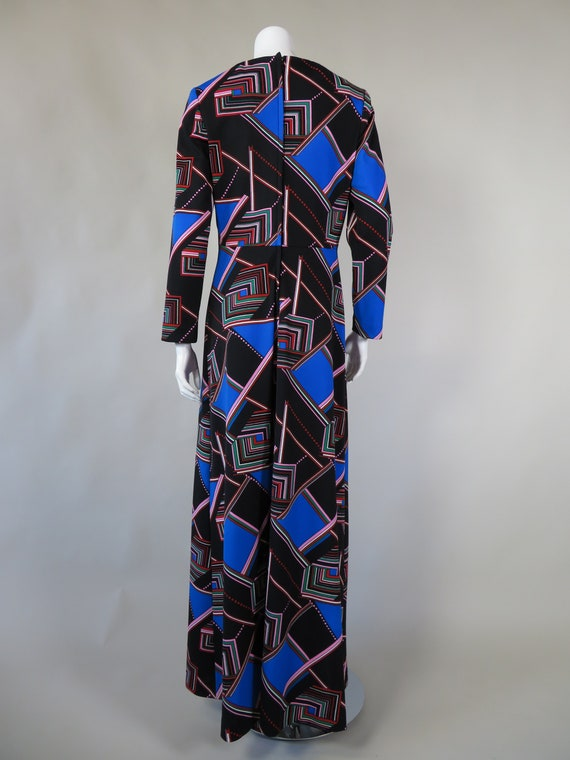 1970s Psychedelic Print Maxi Dress - image 4