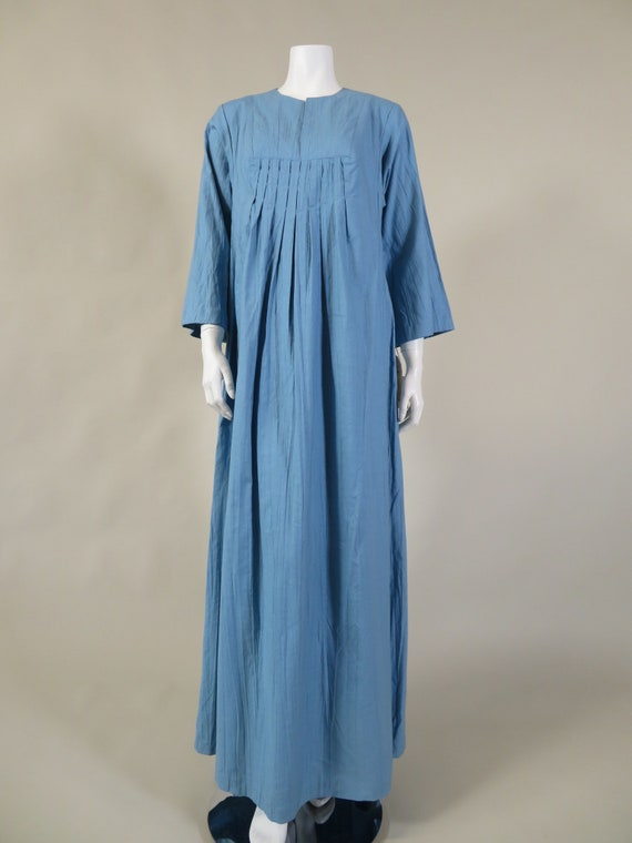 Vicky Vaughn Blue Cotton Kaftan Style Dress | c. 1