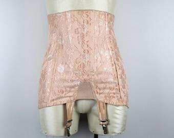 RARE Vintage 50s Peach Boudoir Boned Corset Girdle Suspenders