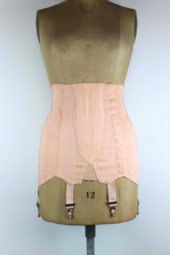 1950s Vintage Pink Girdle Skirt, Vintage Garter Be
