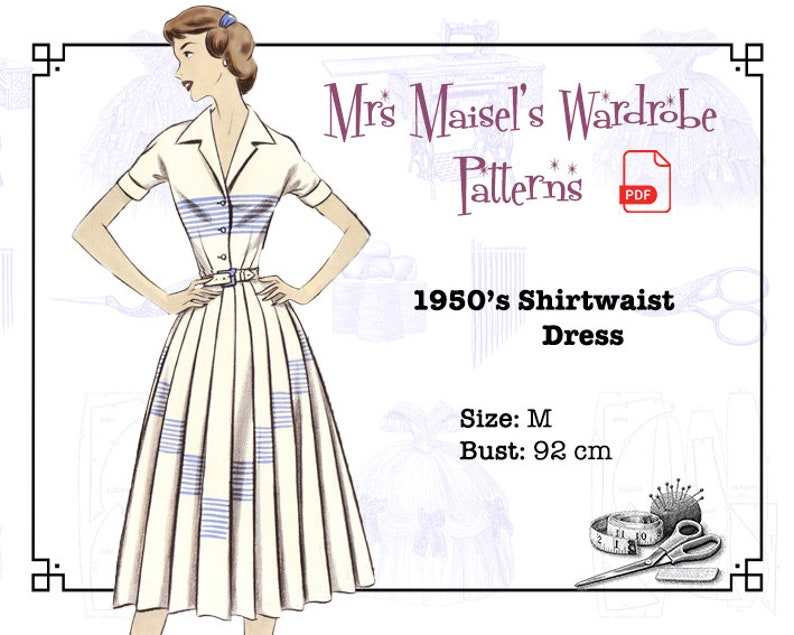 1950s Fabrics & Colors in Fashion 1950s Shirtwaist Dress Vintage PDF pattern Instant Download $8.86 AT vintagedancer.com