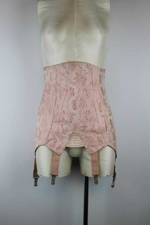 1950's Pink Brocade Girdle, Vintage Garter Belt, S