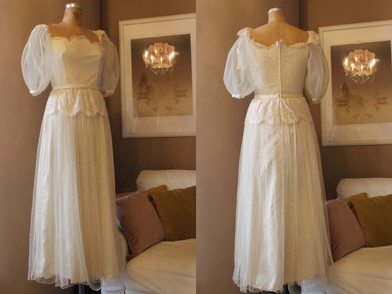 Vintage Wedding Dress, 1980s Does 1940s Bridal Gow