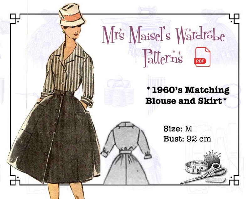 1950s Sewing Patterns | Dresses, Skirts, Tops, Mens 1960s Matching Blouse and Skirt Vintage PDF pattern Instant Download $8.86 AT vintagedancer.com