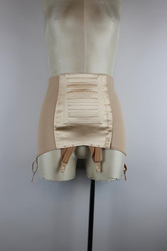 1970s Beige Satin Girdle Skirt, Vintage Champagne