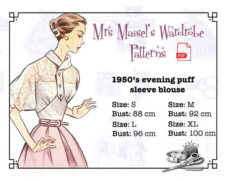 1950s Fabrics & Colors in Fashion 1957 Evening Puff Sleeve Blouse Vintage PDF pattern Instant Download $7.60 AT vintagedancer.com
