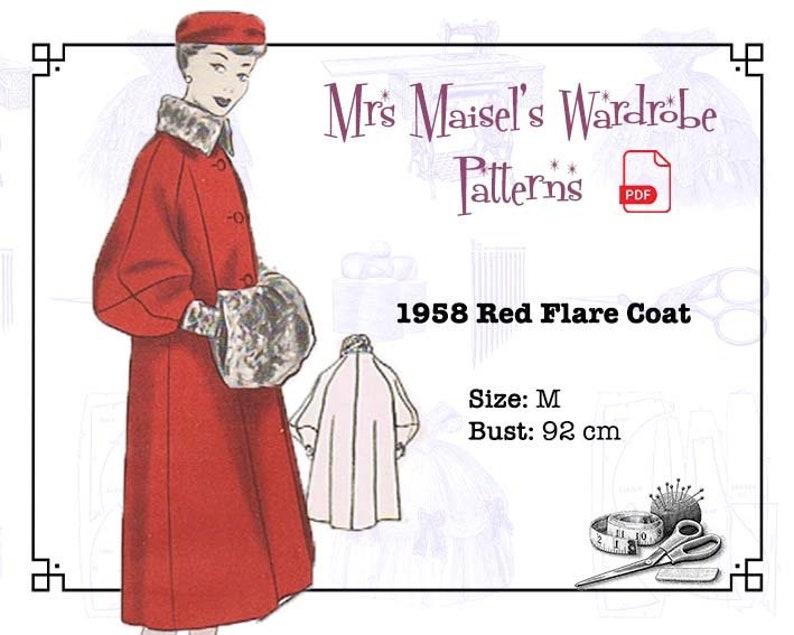 1950s Sewing Patterns | Dresses, Skirts, Tops, Mens 1950s Winter Coat Pattern Vintage Autumn Coat PDF pattern Instant Download $8.86 AT vintagedancer.com