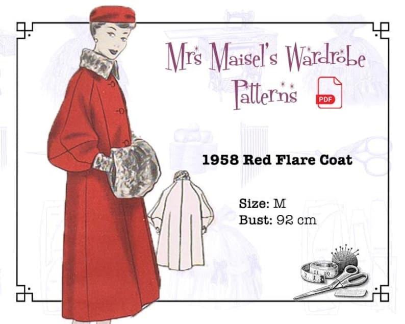 1950s Coats and Jackets History 1950s Winter Coat Pattern Vintage Autumn Coat PDF pattern Instant Download $8.86 AT vintagedancer.com
