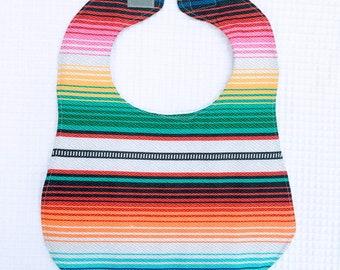 Mexican Serape Baby Bib White