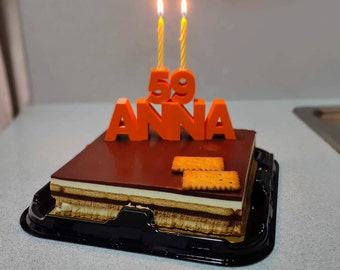 Birthday cake topper candle with custom name and age or number